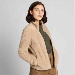 Uniqlo Fuzzy Yarn Fleece Teddy Zip Up Jacket Beige